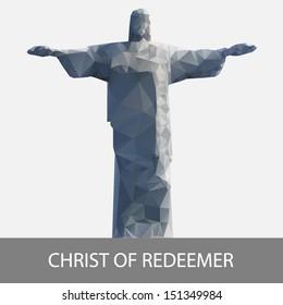 geometrical stylized christ statue