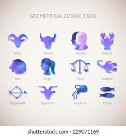 Geometrical zodiac signs. Vector illustration