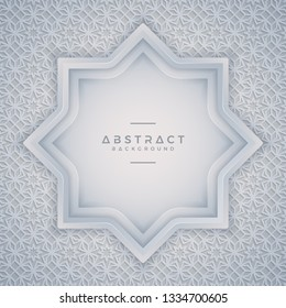 Geometry background with a combination of modern white and gray ornaments with empty space in the middle for your text. Eps10 vector background.