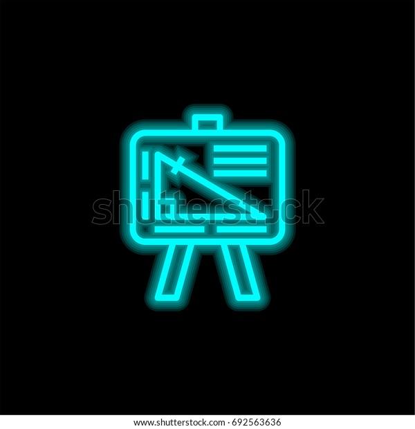 Geometry blue glowing neon ui ux icon. Glowing sign logo vector