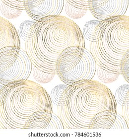 geometry circle round pattern. rose gold abstract geometry luxury style seamless pattern.  elegant chic vector illustration for surface design, fabric, wrapping paper.