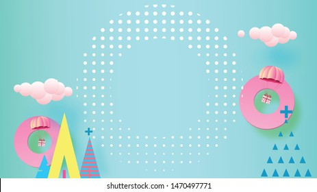 Geometry colorful Christmas background with copy-space for your product. Empty space for advertising. Modern abstract 3D cover, Postcard. Minimal style. Vector illustration.