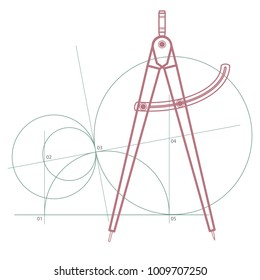Geometry Compass, Measurement Dividers With a Geometric Pattern of Circles of Different Diameter, Radius. Vector, Illustration