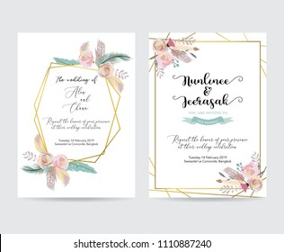 Geometry gold wedding invitation card with flower,leaf,feather and frame