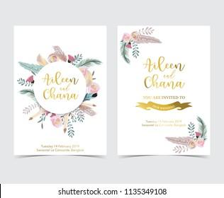 Geometry gold wedding invitation card with flower,leaf,ribbon,wreath and frame