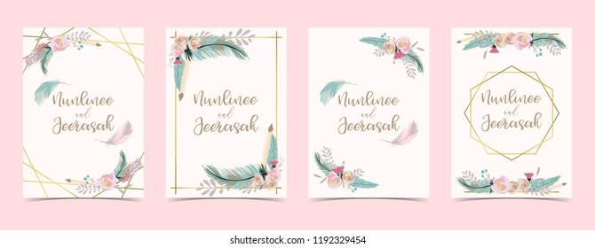 Geometry gold wedding invitation card with flower,leaf,ribbon,wreath,feather and frame on white background