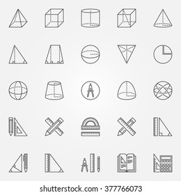 Geometry icons set - vector set of linear mathematics and geometry signs or logo elements for school or university. Geometrical figures education symbols