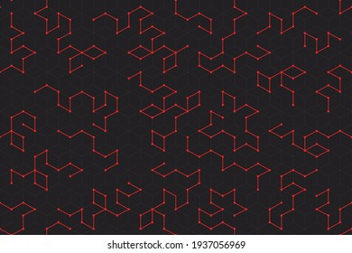 Geometry isometric layered seamless pattern for your landing page, web, app design. Square and lines editable tracery wallpaper with geometric elements futuristic style. Tecnology construction.