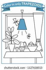 Geometry for kids. Color in only  trapezoids. Coloring book. Education for preschoolers. Format A4.