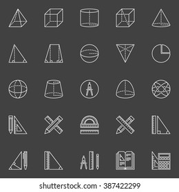 Geometry and math icons - vector collection of geometry education symbols in thin line style on dark background