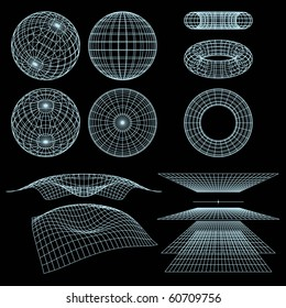Geometry, Mathematics and Perspective Wireframe Symbols. Vector Illustration