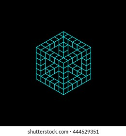 geometry minimal logo concept, cube vector logo template