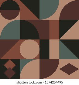 Geometry minimalistic artwork poster with simple shape and figure. Abstract vector pattern design in swiss style coffee color.