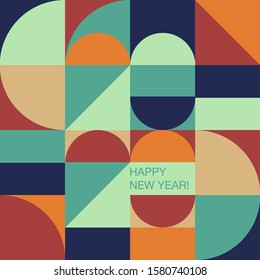 Geometry minimalistic typography of 2020 New Year. Simple shape and figure. Conceptual  Happy New year design for cards and invitations. Design in Scandinavian style.