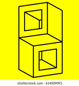 Geometry. Optical illusion cube