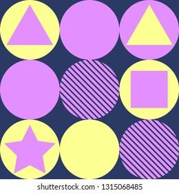 Geometry pattern with circle and square on blue background.