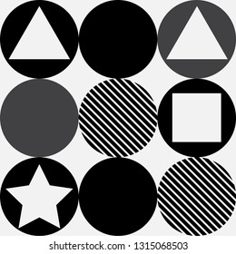 Geometry pattern with circle and square on white background,black and white pattern.
