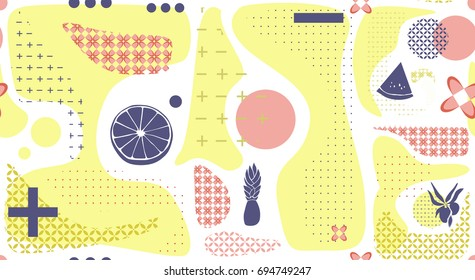 Geometry pattern with fruits. Vector seamless pattern of yellow color marks on a white background whit tropical fruits
