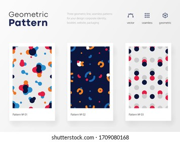 Geometry pattern with simple shape and figure. Abstract vector pattern design for web banner, business presentation, branding package, fabric print, wallpaper. Bright youth colorful illustrations