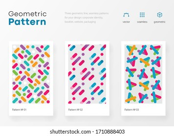 Geometry pattern with simple shapes and figures. Abstract vector pattern design for web banner, business presentation, branding package, fabric print, wallpaper. Bright youth colorful illustrations
