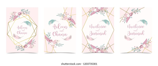 Geometry pink gold wedding invitation card with rose,leaf,ribbon,wreath,feather and frame