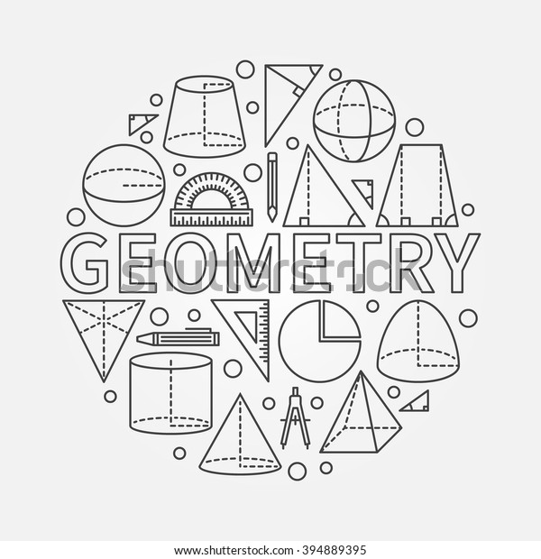 Geometry Round Symbol Vector Math Circle Stock Vector