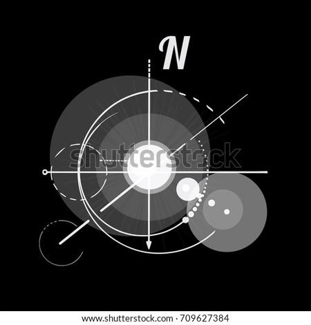 Geometry Scheme Sacred Compass Round Symbol Stock Vector Royalty