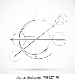 Geometry scheme sacred line circle symbol on white background