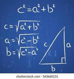 geometry school hand drawn elements Pythagoras on blue board