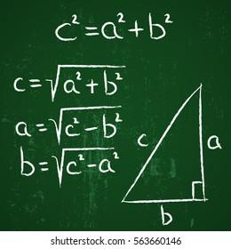 geometry school hand drawn elements Pythagoras on green board