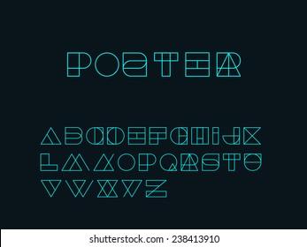 Geometry Shape form alphabet set - outlined