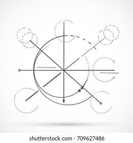 Geometry sketch scheme sacred line circle symbol on white background