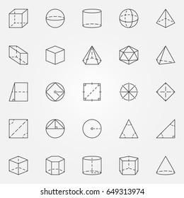 Geometry and trigonometry icons set. Vector collection of pyramid, cube, sphere, cone symbols or design elements in thin line style
