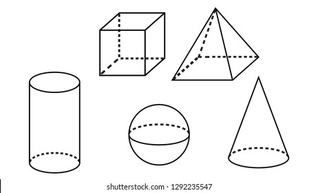 Geometry vector. Cube, prism, pyramid, cylinder and cone outline