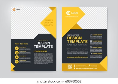 Geometry yellow brochure, flyer design template vector design. Layout template in A4 size