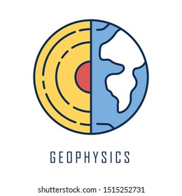 Geophysics color icon. Study of Earth crust and core. Physics branch. Inner structure and composition of Earth lithosphere. Geology and geography research. Planet model. Isolated vector illustration
