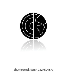 Geophysics drop shadow black glyph icon. Study of Earth crust and core. Physics branch. Inner structure and composition of Earth lithosphere. Planet model. Isolated vector illustration