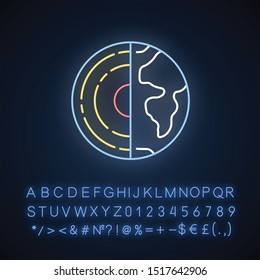 Geophysics neon light icon. Study of Earth crust and core. Inner structure and composition of Earth lithosphere. Glowing sign with alphabet, numbers and symbols. Vector isolated illustration
