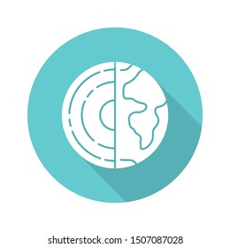 Geophysics turquoise flat design long shadow glyph icon. Study of Earth crust core. Inner structure and composition of Earth lithosphere. Geology and geography research. Vector silhouette illustration