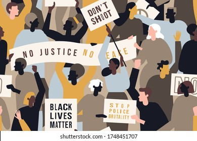 George Floyd protests across America. People with streamer and signs protesting for Black Lives Matter movement . Concept of protest vector illustration. Seamless pattern.