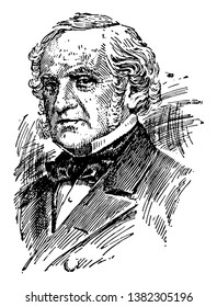 George Peabody, 1795-1869, he was an American-British financier, famous as the father of modern philanthropy, vintage line drawing or engraving illustration