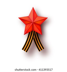 George ribbon may 9 in Russia. Vector ribbon of Saint George. 9 May 1941-1945. Victory day. Russian holiday design with Saint George ribbon. Red star. Holiday background. Red army holiday. USSR Russia