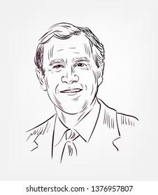 George Walker Bush usa president vector sketch portrait