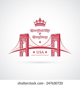 George Washington Bridge - connecting Fort Lee, New Jersey and Washington Heights, Manhattan in New York City, United States - vector illustration