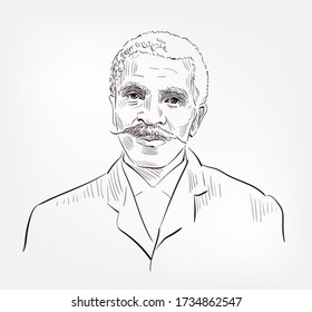 George Washington Carver famous American agricultural scientist and inventor vector sketch portrait