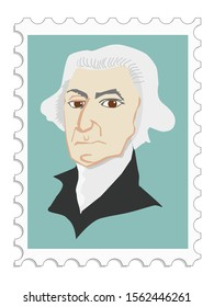 George Washington first president and one of founder of USA. American political leader, military general, statesman, and Founding Father. Vector, coloured portrait on stamp. Famous people series