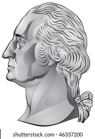 George Washington, the first US president, portrait from the quarter dollar United States coin in vector