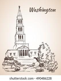 George Washington Masonic National Memorial from King Street Washington. Isolated on white background