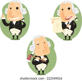 George Washington President Set, vector illustration cartoon.