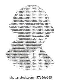 George Washington stylized portrait ASCII art original version. Code. Vector illustration.